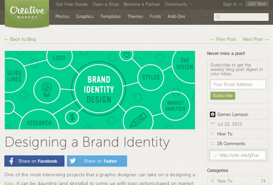 Creative Market Blog Identity article screenshot